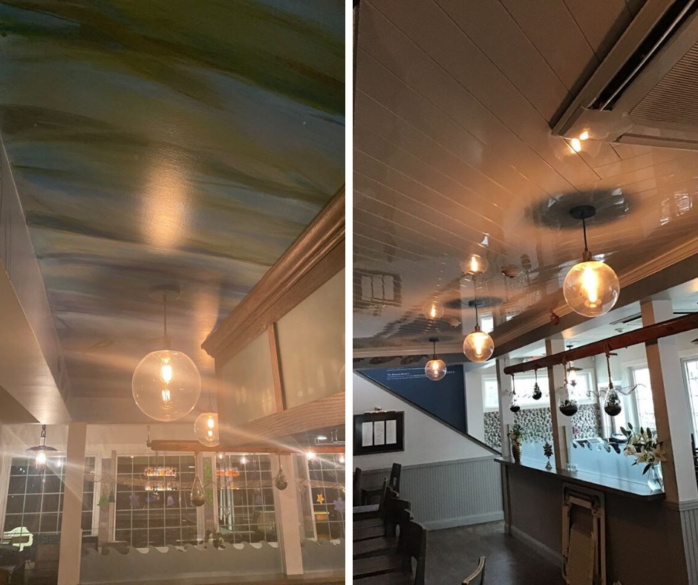 Ceiling Installation in the Matunuck Oyster Bar